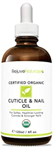 USDA Organic Cuticle Oil (LARGE 4-OZ Bottle) for Softer, Healthier Cuticles & Stronger Nails. Moisturizing & Healing Organic Jojoba, Olive & Vitamin E Oils. For Peeling Cuticles, Nails & Cracked Skin