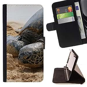 King Art - Premium-PU-Leder-Prima caja de la PU billetera de cuero con ranuras para tarjetas, efectivo Compartimiento desmontable y correa para la mu?eca FOR Samsung Galaxy S6 G9200- Sea turtle