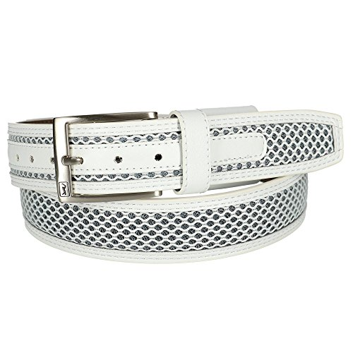 PGA TOUR Men's Leather with Stretch at Buckle, White, 38