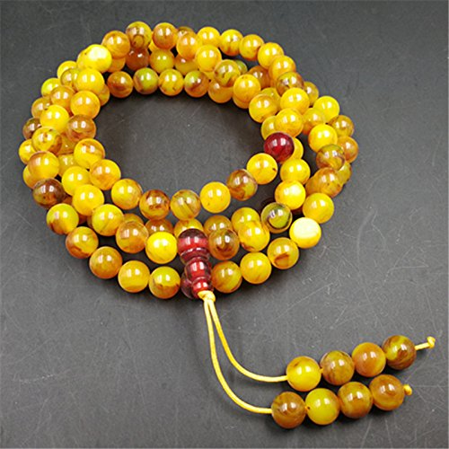 Synthetic beeswax amber imitation plastic resin beads bracelets necklaces beads 108 men and women Man playing - Beeswax Beads Necklace