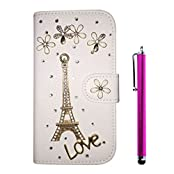 Cuitan Luxury Crystal Rhinestone Diamond Bling PU Leather Flip Stand Wallet Case Cover + Stylus for Huawei Y635...