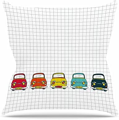 18 by 18 Kess InHouse MaJoBV Boys Rock Multicolor Cars Throw Pillow