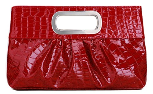 Chicastic Oversized Glossy Patent Leather Casual Evening Clutch Purse with Metal Grip Handle - Red