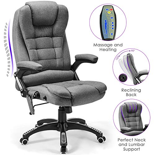 Massage Office Chair Kealive 400lbs Thick High Back Fabric Executive Computer Desk Chair, Adjustable Tilt Angle Ergonomic Reclining Chair with Lumbar Support, Rolling Swivel Executive Chair