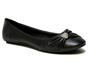 a59a9d5d3de NEW WOMENS LADIES GIRLS FLAT BALLET BALLERINA PUMPS WEDDING DIAMANTE PLAIN  WORK SCHOOL DOLLY BLACK PATENT GOLD SHOES SIZE 3 4 5 6 7 8  Amazon.co.uk   Shoes   ...