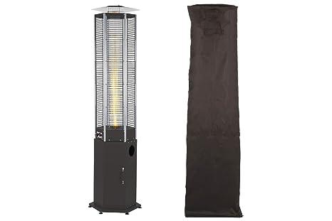 empasa Hexa Flame - Estufa de Gas para terraza con pequeña Pantalla de Llama, Color
