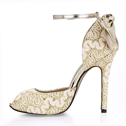 hebilla encaje cm transpirable goma una 4U Mejor zapatos tacones Primavera 12 oro sandalias altos blanco bombas de básicas verano dorado cremallera mujer arco neta suela de qA0H7Axw
