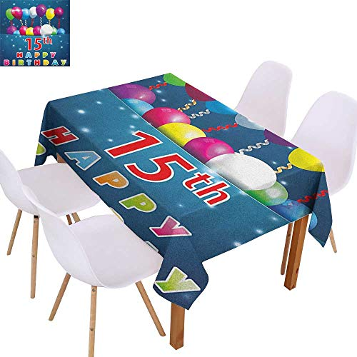 Party Decoration Tablecloth 15th Birthday,Festive Occasion Surprise Party Theme with Balloons and Curly Swirled Ribbons,Multicolor,for Banquet Decoration Dining Table Cover 60