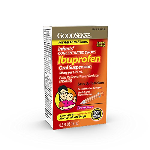 GoodSense Infants' Ibuprofen Oral Suspension, 50 mg per 1.25 mL, Berry, Pain Reliever and Fever Reducer, Temporarily Reduces Fever and Temporarily Relieves Minor Aches and Pains Due to Common Cold