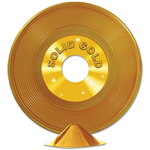 Club Pack of 12 Gold 50's Rock and Roll Plastic Record Centerpiece Party Decorations 9