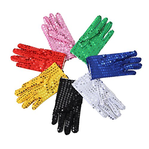Mwfus Bling Kids Boys Girls Sequined Glitter Costume Gloves Party Cosplay Dance Accessory