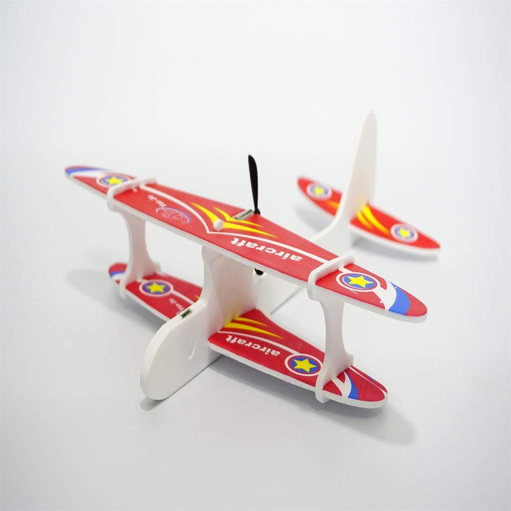 Lljin Electric Foam Biplane Models Aircraft Elastic Powered for Kids Family Set Fun