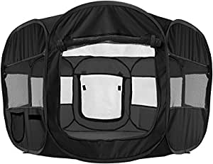 """OxGord 8-Panel Pop-Up Tent with Carry Bag Portable PlayPen for Pets, 48 by 48 by 25"""", Black"""