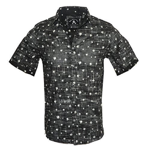 Rock Roll-n-Soul Men's Short Sleeve Skull Button up Fashion Shirt Black by Heads are Gonna Roll 212SSB (L) -
