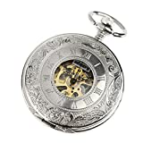 INFANTRY Mens Silver Pocket Watch Windup Mechanical Pocket Watches for Men - with Chain