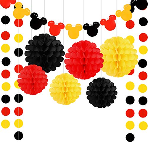 Threemart Colorful Party Supplies Yellow Black Red for Mickey Mouse Baby Shower Birthday Decorations -