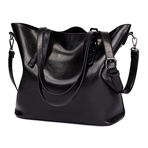 Womens High Quality Genuine Leather Leisure Top-Handle Bags (Black) - 4
