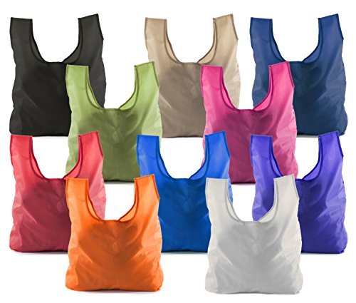- Reusable Grocery Bags | Foldable w/Integrated String Pouch | Ripstop Nylon Tote