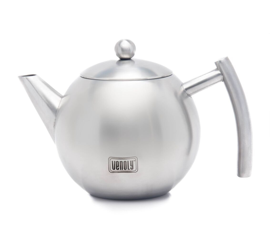 Venoly Stainless Steel Tea Pot With Removable Infuser For Loose Leaf and Tea Bags, Dishwasher Safe and Heat Resistant, 1 Liter by Venoly
