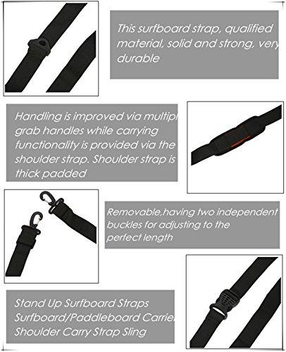 Stand Up Surfboard Straps - Surfboard/Paddleboard Carrier Shoulder Carry Strap Easy Carry Storage Strap Shoulder Sling - Longboard Carry Strap Adjustable Board Strap by Vbestlife (Image #3)