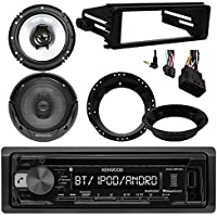 Kenwood KDCBT21 Bluetooth CD Stereo Audio Receiver - Bundle Combo With 2x Kenwood 6.5 Inch Black Coaxial Speakers W/ Adapter Brackets + Radio Dash Kit For 1998-2013 Harley Motorcycle Bikes