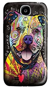 Beware of Pit Bulls PC Case Cover for Samsung Galaxy S4 and Samsung Galaxy I9500 3D