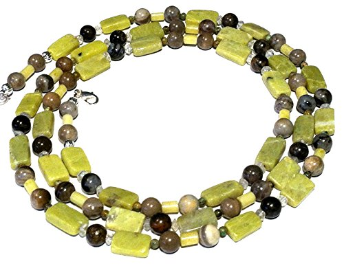 - Petrified wood, noble serpentine, quartz extra long rope necklace; Lime green, brownish beaded necklace; Gift from Seattle necklace; Handcrafted in Washington State;