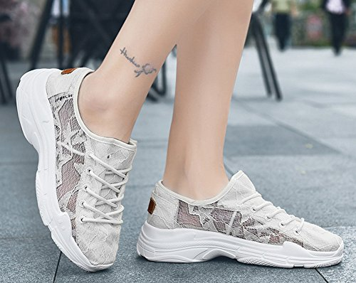 Up Lace 2703 Wedge Walking Platform Casual Hollow Breathable Shoes TIOSEBON White Loafers Women's Floral HEtEqw