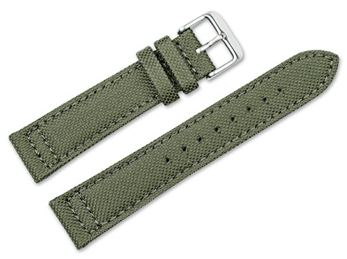 - 20mm Replacement Watch Band - Nylon Canvas w/Leather Lining - Olive Watch Strap