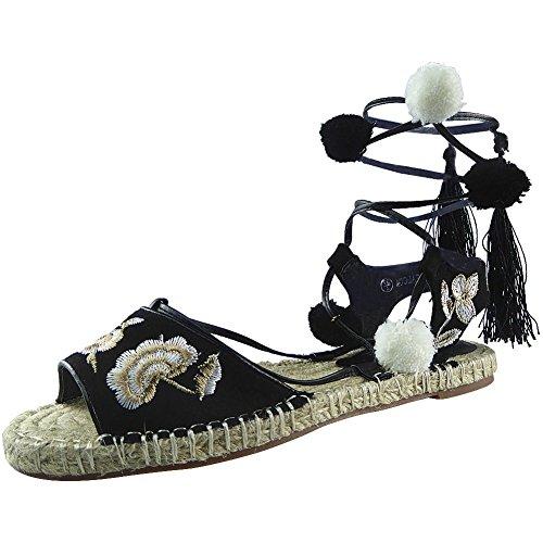 Da donna Allacciare Pelliccia Pom Pom Espadrillas Scarpe Sandali Dimensione 36-41 Nero