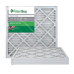 FilterBuy AFB Silver 20x20x1 MERV 8 Pleated AC Furnace Air Filter - Pack of 4 - 20x20x1