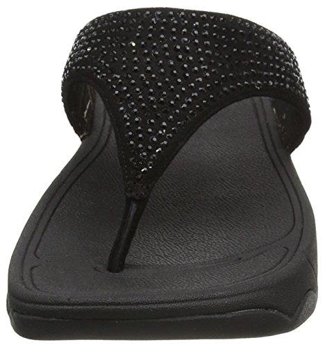 Fitflop Rokkit - plataformas rectas de cuero mujer Black (Black Diamond)