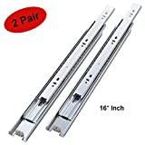 2 Pair of 16 Inch Full Extension Side Mount Ball Bearing Sliding Drawer Slides, Available in 10'', 12'', 14'', 16'', 18'' and 20'' Lengths