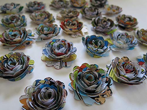 Scalloped Comic Book Page Roses, Paper Flowers Wedding Decorations, 24 Piece Set, 1.5 Inch Rosettes, Floral Bridal Shower Table Runner Decor, Baby Shower, Superhero Party Theme ()