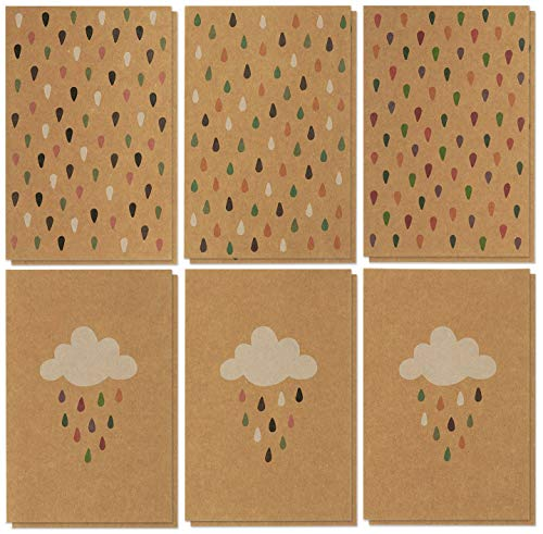 36 Pack All Occasion Greeting Cards Bulk - Colorful Rain Drop Designs - Brown Kraft Paper Note Cards Boxed Set With Brown Envelopes - Blank on the Inside - 4 -