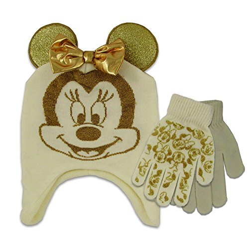 Disney Little Girls Minnie Mouse Contoured Cold Weather Hat and Glove Set, Ivory/Gold, One Size