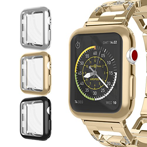 For Apple Watch Case 42mm, UMTELE Plated TPU Case Integrated Screen Protector Anti-scratches Slim Lightweight Protective Cover for Apple Watch Series 3/2/1, Nike+, 3-Pack(Black, Gold, Clear) by UMTELE