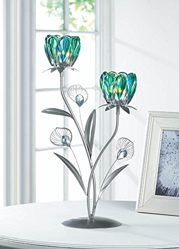 Gallery of Light Iron Candle Holder, Metallic Decorative Double Peacock Flowered Candle Holders -