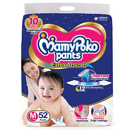 MamyPoko Pants Extra Absorb Diaper Medium M Size 52 Pieces