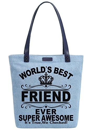 So'each Women's World's Best Friend Denim Dye Handbag Tote Shoulder Shopper Bag Azul