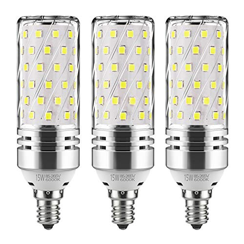 GEZEE E12 LED Corn Bulbs,15W LED Candelabra Light Bulbs 120 Watt Equivalent, 1500lm, Daylight White 6000K LED Chandelier Bulbs, Decorative Candle, 4.1in1.2in, Non-Dimmable LED Lamp(3-Pack) ()
