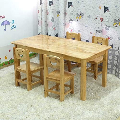 - ZH Wooden Kids Table and Chair Set, 2-8 Years Old Toddler Solid Wood Activity Table, Rectangular Play Table and 4 Chairs for Nursery