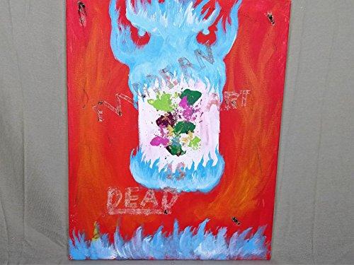 modern art is dead, burnt art, fire art, demon art, alternative art, strange art, weird art, freaky art, acrylic painting, 16x20 canvas