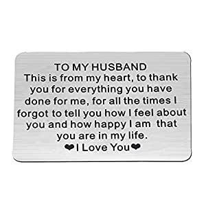 FUSTYLE Metal Wallet Card Insert for Husband Engraved You are in My Life I Love You