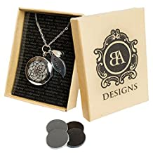 Stainless Steel Essential Oil Diffuser Necklace | Hypo-Allergenic 316L Surgical Grade Stainless Steel | 4 LEATHER Diffuser Discs | Young Living or Doterra Oils | 18 Chain with 2 Extender
