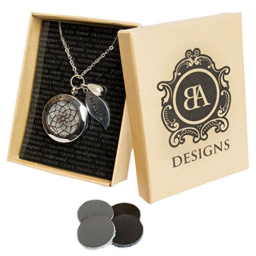 Stainless Steel Essential Oil Diffuser & Aromatherapy Locket Necklace, Hypo-Allergenic 316L Surgical Grade Stainless Steel,18 Chain with 2