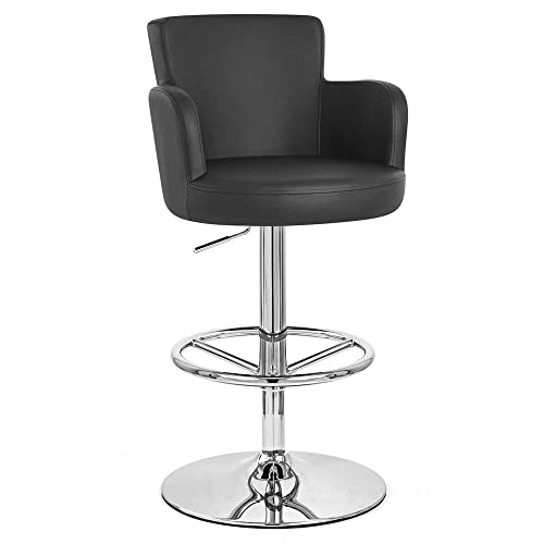 Zuri Furniture Black Chateau Adjustable Height Swivel Bar Stool with Chrome Base