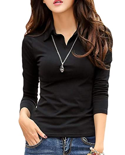 3032f2462ec63 GRMO Women Long Sleeve T Shirts Solid Color V Neck Polo Tops Black US XS