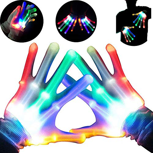 Autbye Light Up LED Skeleton Hand Gloves Halloween