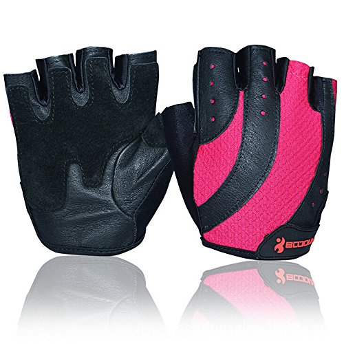 Ezyoutdoor Women Rose Red Half Finger Glove Breathable Fitness Cycling Bike Bicycle Motorcycle Shockproof Outdoor Sports Gloves (Medium)